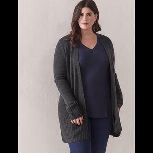 Size 4x Cashmere Blend Open Cardigan